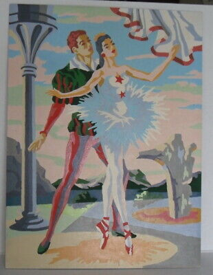 Vintage 1956 Craftint Ballet Dancers Man Woman Paint By Number 12x16