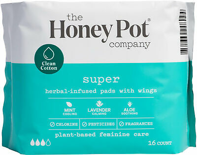 Super Herbal-Infused Pads with Wings, THE HONEY POT, 16 count