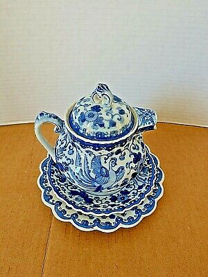 Antique Asian Blue & White Tea Pot with two Plates & Signed 1920's Collectible