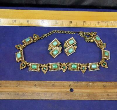 Antique Vintage Art Deco Geometric Design Necklace Earrings Gold And Green !!