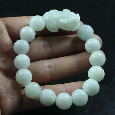 Certified A Natural Green Jadeite Jade Hand-carved Beads Pixiu Bracelet a1508