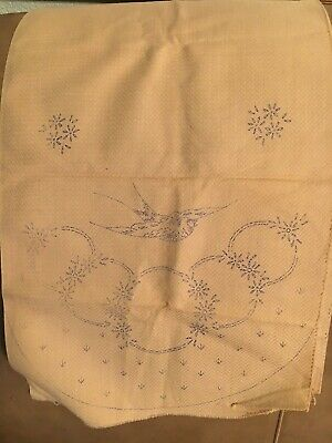 Vintage Bird Stamped Dresser Scarf for Embroidery