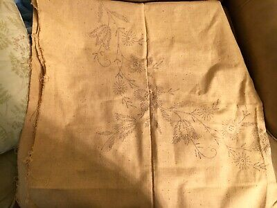 Vintage Floral Stamped Square Tablecloth for Embroidery