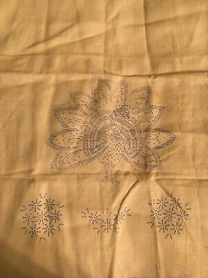Vintage Peacock Stamped Table/Dresser Scarf for Embroidery