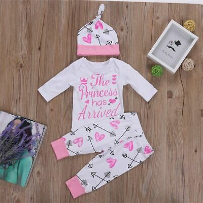 New Newborn Baby Girls Princess Top Romper Long Pants Hat Outfits Clothes 0-24M