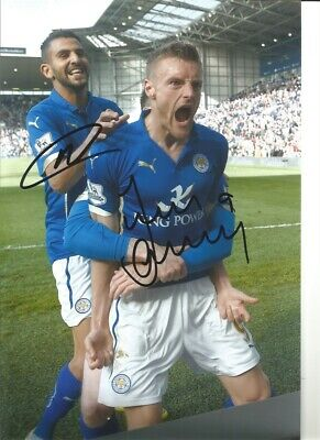 Riyad Mahrez Jamie Vardy Leicester City signed authentic football photo SS239