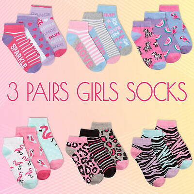 3 Pairs Kids Girl Ankle Socks Novelty Glitter Animal Print Flamingo Sizes 6-3.5