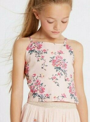 New Girls Age 14-15 Years Pure Cotton Crop Tops Pale Pink Strappy Floral Print