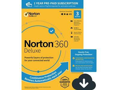 Norton 360 Deluxe 2020 3-Devices +25GB Cloud Physical Product Key Card FREE SHIP