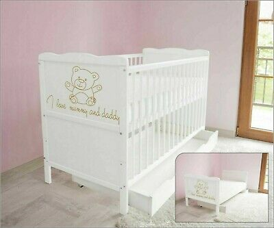 Wooden Baby Cot Bed with Drawer and Foam Mattress ✔ White Junior Toddler Bed