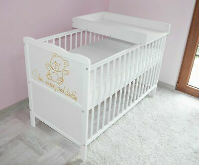 Wooden Baby Cot Bed & Foam Mattress & Top Chaneger ✔ Converts to Toddler Bed
