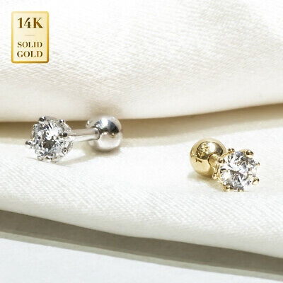 14K REAL Solid Gold Round CZ Stud Helix Tragus Cartilage Earring Piercing 18G