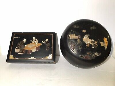 Antique Chinese Lacquered Wood Box W/ Hand Carved MOP Shell and Stone Decoration