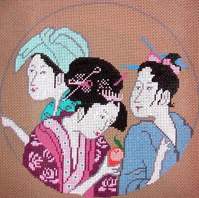 JG Squiggee Oriental Women & Embellishments Handpainted Needlepoint Canvas