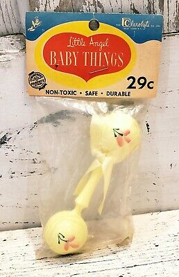 VTG 1950s Clarolyte Co. Little Angel Baby Things YELLOW Rattle FACTORY SEALED
