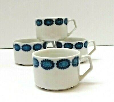 (4) MCM Welther Maxima Modernist Blue White Geometric Porcelain Coffee Cups Mugs