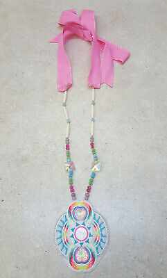 Hand Crafted Cut Beaded Heart Design Rosette Native American Indian Necklace