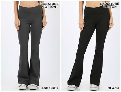 S-3X Signature Cotton Fold Over Flare Bootcut Yoga Stretch Pants Plus Size