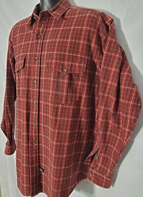 Vtg Polo Country Ralph Lauren Button Up Shirt Mens Large L Red Black Plaid Long
