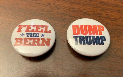 (2) Democratic Party Anti-Trump Bernie Sanders 2020-President Political Buttons