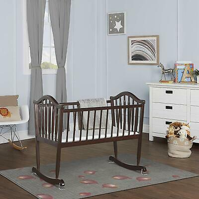 Cradle Rocking Antique Baby Crib Wood Vintage Bed Wooden Bassinet Classic Stand