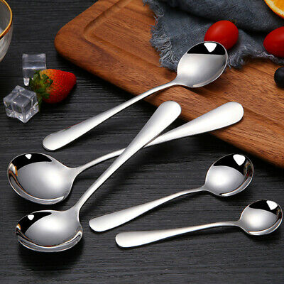 Cy/_ 5 Pcs Kitchen Utensil Soup Spoons Rose Ceramic Handle Stainless Steel Spoon