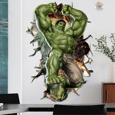 Cartoon Hulk 3D Wall Sticker Marvel Avenger Superhero Kids Boys Room Wall Decal