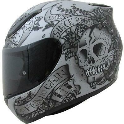 MT Revenge Skulls And Roses Helmet Grey/Black Large
