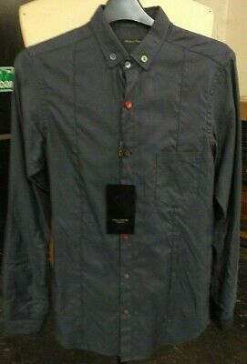 Holland Esquire Navy Multi Coloured Button Casual Shirt Size S