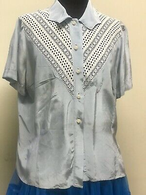 Vintage Rare  1930/1940 Original Silk Blouse With Cotton Lace , Sz Lge