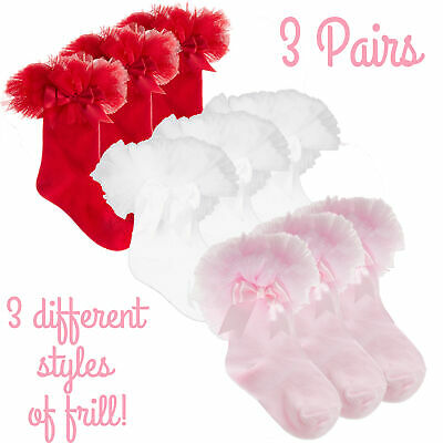 3 Pairs Baby Girls Spanish Tutu Frillly with Cute Bow Pink  Size 0-0 0-2.5 3-5.5