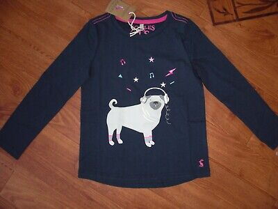Bnwt Joules Girls Bessie French Navy Pug Long Sleeved T-Shirt Top Age 7-8 Yrs.
