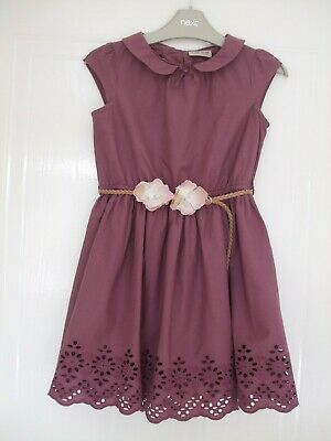 Next Plum Broderie Anglaise Cotton Dress With Added Belt.    Age 7 Years