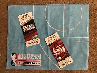 2020 NBA All Star Game CHICAGO Mint Condition Tickets Slam Dunk & Towel