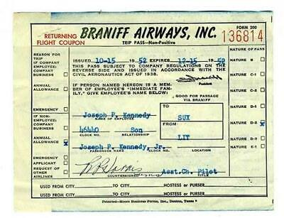 1952 Braniff Airways Trip Pass Non Positive Family Member of Employee LIT to SUX
