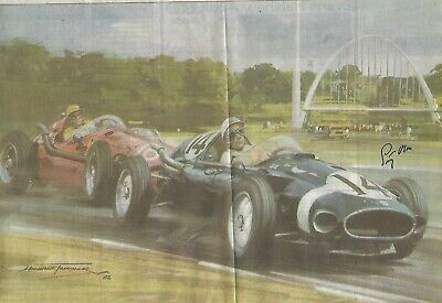Signed Sir Stirling Moss British Formula One French US German Grand Prix 1940s +