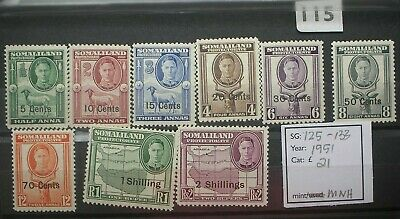 Somaliland:1951 SG125-135 Mint nh to 2 shillings  Full face. Cat: £21
