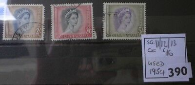 Rhodesia & Nyasaland: QE2 1954 issue. Used higher values.