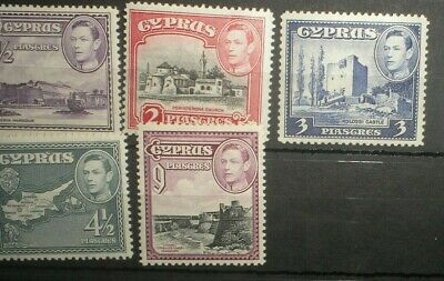 Cyprus GVI 1938 Small selection Mint. Cat: £18