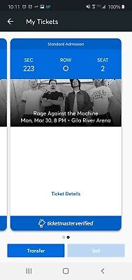 Rage Against The Machine Gila River Arena AZ 2 Tickets 3/30/20
