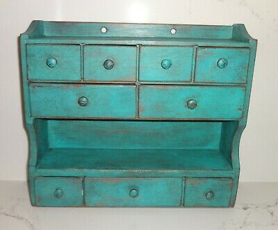 Vintage 9 Drawer Spice Cabinet/Box/Cupboard/Apothecary/Chest/Blue-Painted