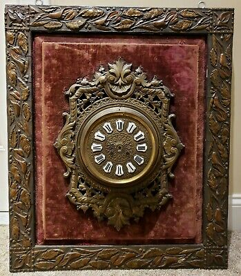 Antique 1800's Large French Victorian Brass Dial Picture Frame Wall Clock Case