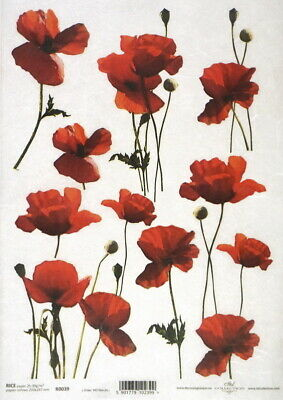 Rice Paper for Decoupage Scrapbooking Sheet Craft Red Poppies