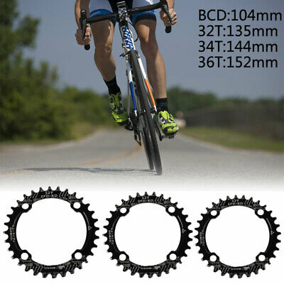 Bike Narrow Wide Round Chainring Ring Single Tooth Chain BCD 104mm 32 34 36T UK