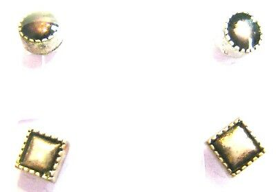 2 Pairs Brushed Silver Metal Mix Round & Square Stud Earrings Multi Pack Ss1