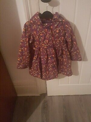 Marks & Spencer Autograph Girl Hooded Coat Purple Floral Age 2/3 Years