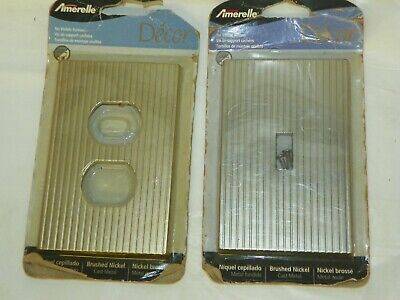 Vtg Metal Light Switch Plate & Outlet Cover Brushed Nickel No Visible Screws NOS