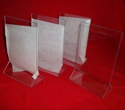 "Four  Acrylic Double Sided Table Sign Holders - Table Tents 4""W x 6""H - New!"