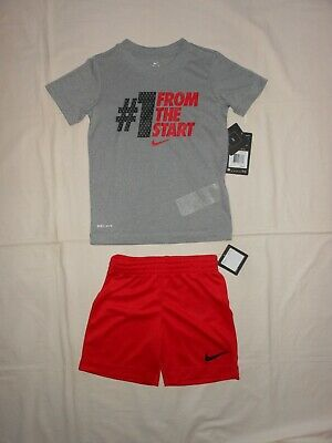 NWT Nike Little Boys 2pc grey shirt and red short outfit, size 4 5 6