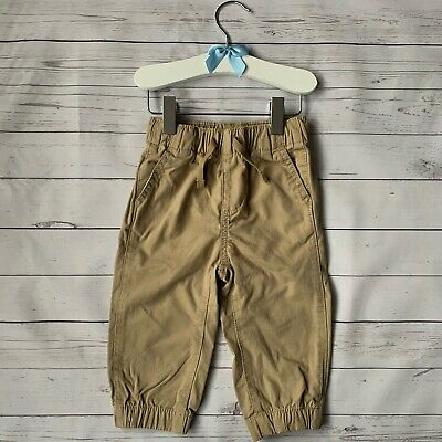 Baby Boys 12-18 Months Trousers GAP Beige Stretch Waist Chino Smart Drawstring